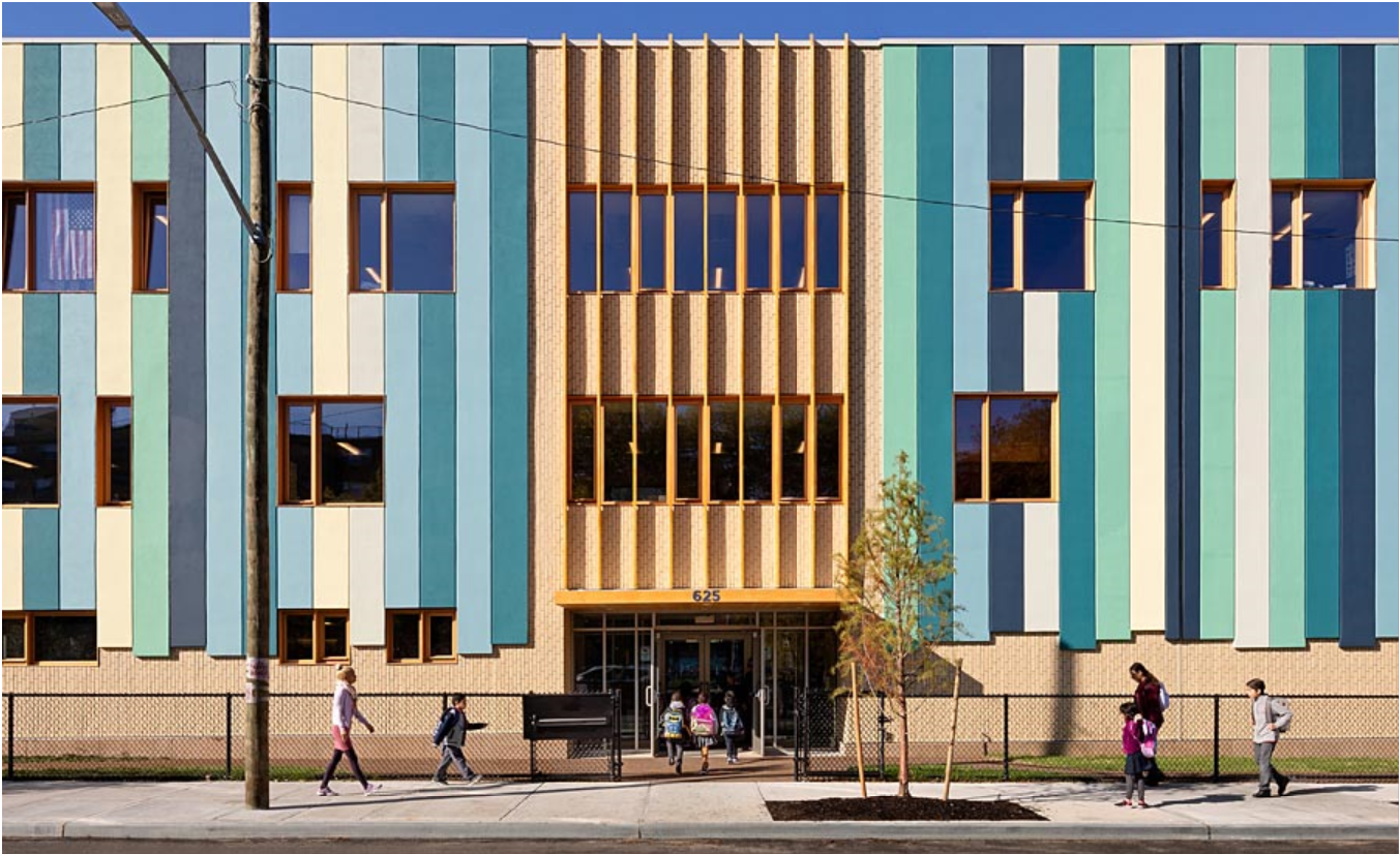 Designers for the Grand Concourse Elementary School in the Bronx NY chose a StoTherm ci fully engineered building enclosure system from Sto, which delivered both aesthetic impact and high performance. Photo provided by Sto Corp