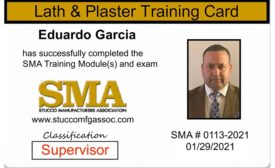 The SMA training card verifies the individual has taken classes (left) and the back lists what classes the individual has successfully passed. Photo courtesy: Stucco Manufacturers Association