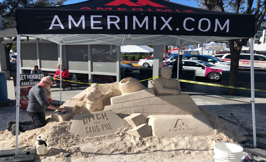 Woc sand sculpture captures amerimix ditch the sand pile for Amerimix stucco