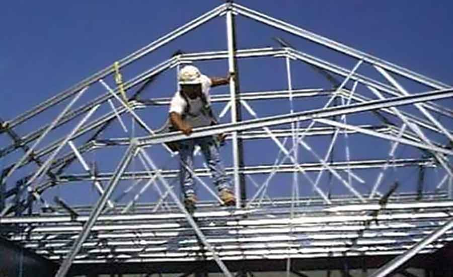 How steel trusses perform 2015 10 01 walls ceilings for Roof trusses installation